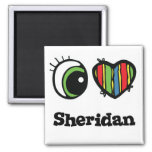 I Love (Heart) Sheridan 2 Inch Square Magnet