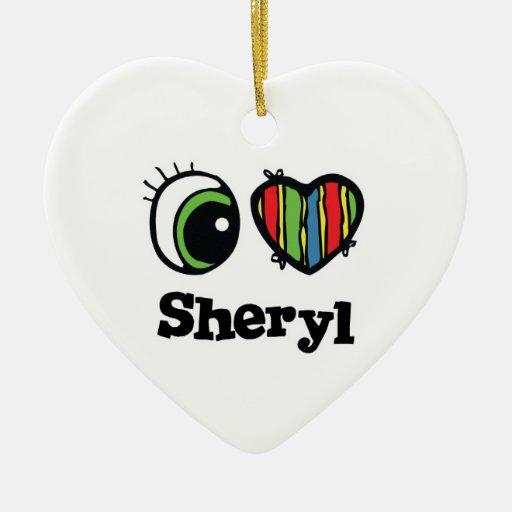 I Love (Heart) Sheryl Double-Sided Heart Ceramic Christmas Ornament