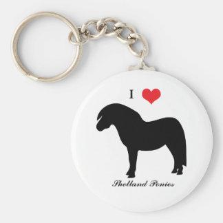 I love heart shetland ponies, keychain, gift idea basic round button keychain