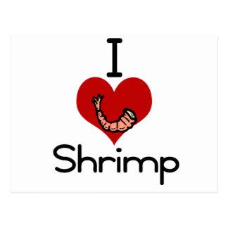 I love-heart Shrimp Postcard
