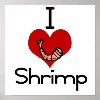 I love-heart Shrimp Poster