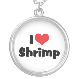 I Love Heart Shrimp - Sea Food Lover Silver Plated Necklace