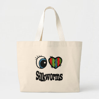 I Love (Heart) Silkworms Jumbo Tote Bag