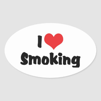 I Love Heart Smoking - Tobacco Cigarette Smokers Oval Sticker