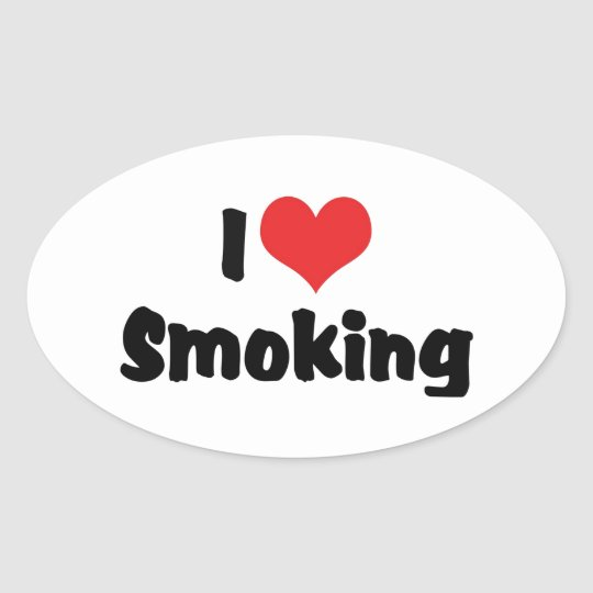 I Love Heart Smoking - Tobacco Cigarette Smokers Oval Sticker