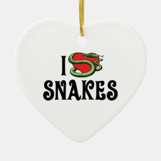 I Love Heart Snakes Ceramic Ornament