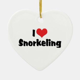 I Love Heart Snorkeling - Tropical Fish Lover Ceramic Ornament