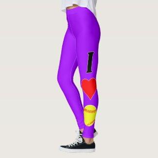 I Love (Heart) Softball Custom Color Leggings