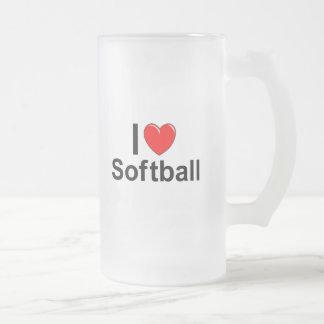 I Love Heart Softball Frosted Glass Beer Mug