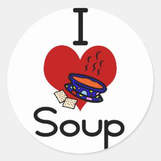 I love -heart  soup round sticker