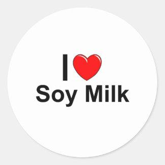 I Love Heart Soy Milk Classic Round Sticker