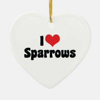 I Love Heart Sparrows - Bird Lover Ceramic Ornament