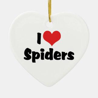I Love Heart Spiders Ceramic Ornament