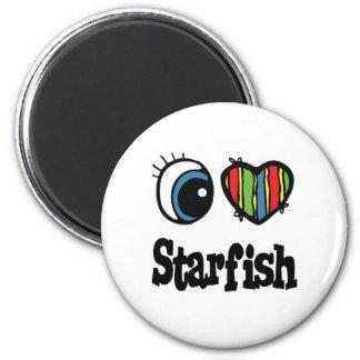 I Love (Heart) Starfish 2 Inch Round Magnet
