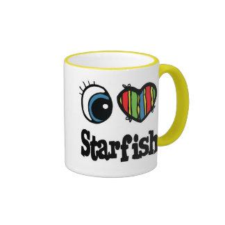 I Love (Heart) Starfish Ringer Coffee Mug