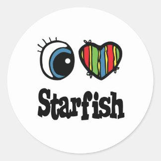 I Love (Heart) Starfish Classic Round Sticker