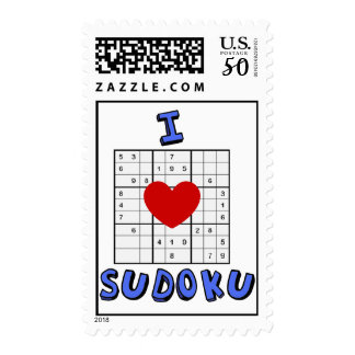 I Love Heart Sudoku Puzzle Postage Stamps