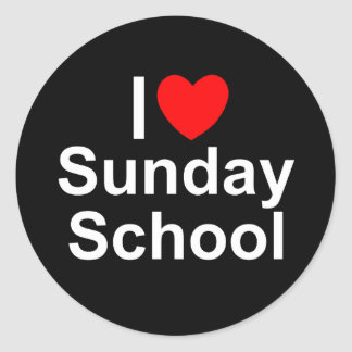 I Love (Heart) Sunday School Classic Round Sticker