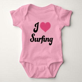 I Love (Heart) Surfing Baby Bodysuit
