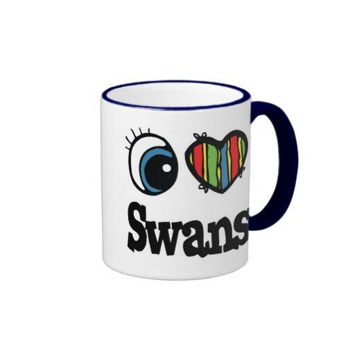 I Love (Heart) Swans Ringer Coffee Mug