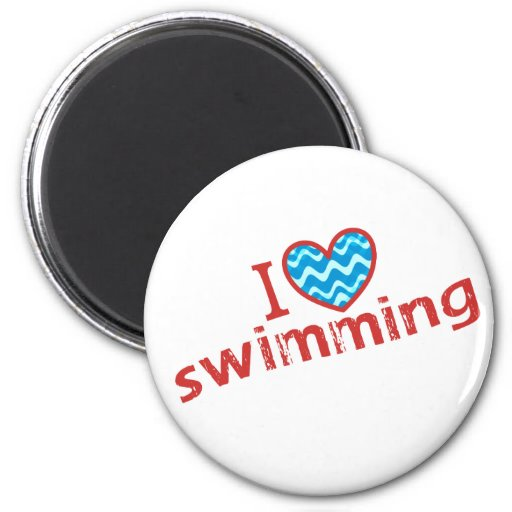 I love (heart) Swimming 2 Inch Round Magnet