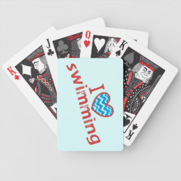 I love (heart) Swimming Bicycle Playing Cards