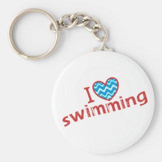 I love (heart) Swimming Keychain