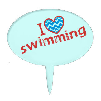 I love (heart) Swimming - Swim Party Cake Topper