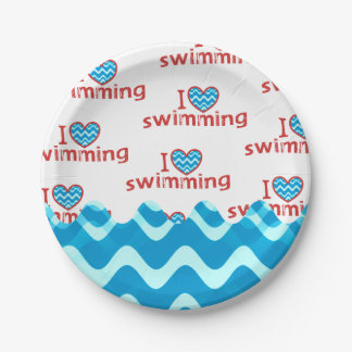 I love (heart) Swimming Themed Party Supplies Paper Plate