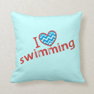I love (heart) Swimming Throw Pillow