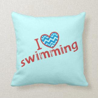 I love (heart) Swimming Throw Pillow