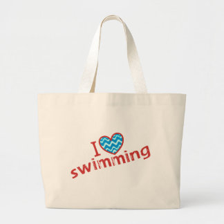 I love (heart) Swimming Tote Bags