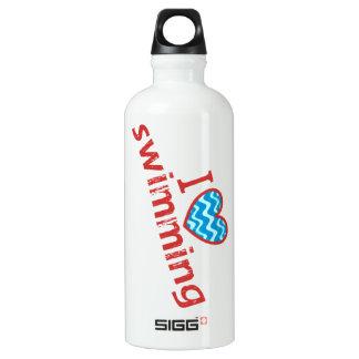 I love (heart) Swimming Water Bottle