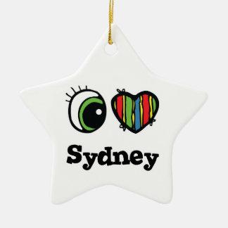 I Love (Heart) Sydney Double-Sided Star Ceramic Christmas Ornament