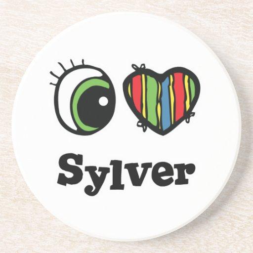 I Love (Heart) Sylver Beverage Coasters
