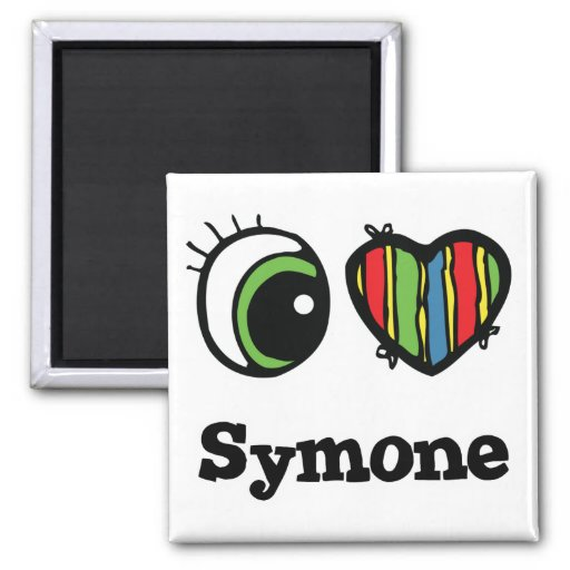 I Love (Heart) Symone 2 Inch Square Magnet