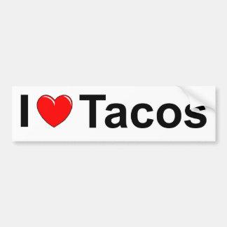 I Love (Heart) Tacos Car Bumper Sticker