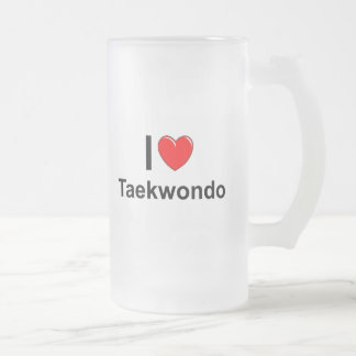 I Love Heart Taekwondo Frosted Glass Beer Mug