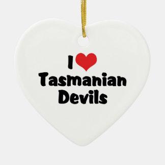I Love Heart Tasmanian Devils Ceramic Ornament
