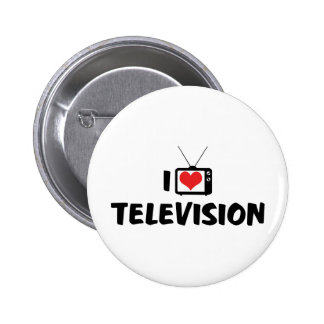 I Love Heart Television - TV Lover Button