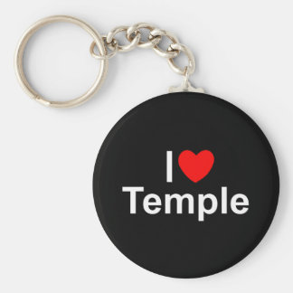 I Love (Heart) Temple Basic Round Button Keychain