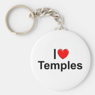 I Love (Heart) Temples Basic Round Button Keychain