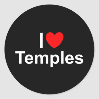 I Love (Heart) Temples Classic Round Sticker