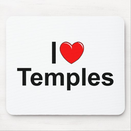 I Love (Heart) Temples Mouse Pad