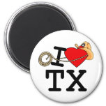 I Love Heart Texas 2 Inch Round Magnet