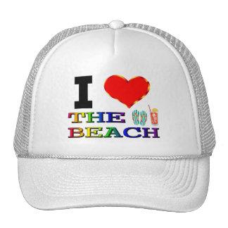 I Love Heart The Beach Trucker Hat