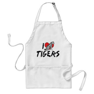 I Love Heart Tigers - Tiger Lover Adult Apron