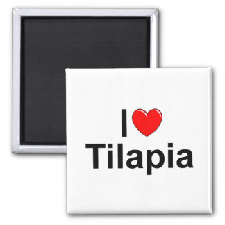I Love (Heart) Tilapia 2 Inch Square Magnet