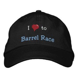 I love (heart) to Barrel Race Embroidered Baseball Cap