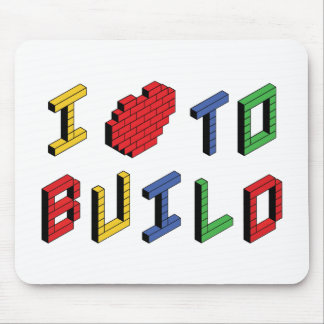 I Love Heart To Build - Building Block Lover Mouse Pad